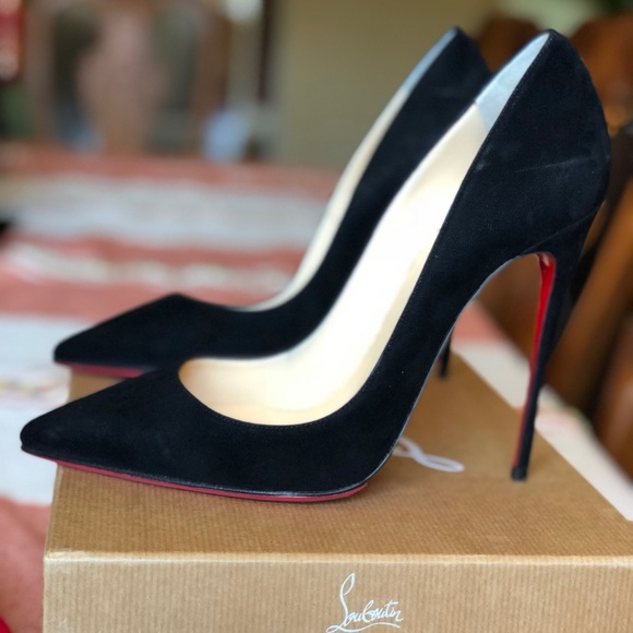 new style b5ebe 60270 Christian Louboutin So Kate 120 Black Suede Pumps